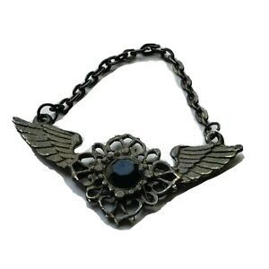 Vintage Wings Feathered Flower Clip on Charm Pendant Slvr Black Stone Gothic Emo