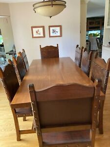 Solid Chilean Oak Southwest style dining table/8 chairs