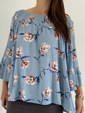 AUTOGRAPH Blue Pink Floral Smocked Bell Sleeve Blouse Top Plus Size AU 18 Boho