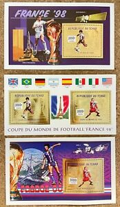 Stamps Gold Deluxes Blocs + Sheetlet Football Worldcup France 98 Tchad 1996 Perf