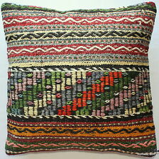 (50*50cm, 20inch) Boho Style handwoven kilim cushion cover textured green pink
