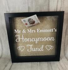 PERSONALISED Honeymoon Fund MONEY BOX Frame Black, Engagement Present Gift LOVE