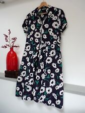 Ladies Lovely TU Navy Blue Mix Floral Midi Shirt Dress Size 14, Vgc