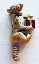 Disney Tigger With Red Present Gold Tone Pin Brooch Vintage