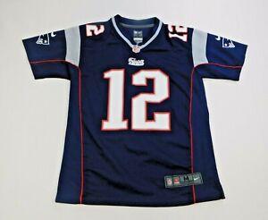 Nike NFL Youth Kids Blue 12 Tom Brady New England Patriots Jersey Size Medium
