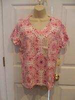 NWT St. John's Bay Top Pink Tee Shirt Short Sleeve Crew Neck 100% Cotton LARGE