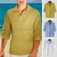 Men Long Sleeve Linen V Neck T-shirt Henley Tops Shirt Summer Casual Holiday Top