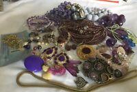 Grandmas Estate Purple Jewelry Lot Craft Wear Repair Resell (lot 6)