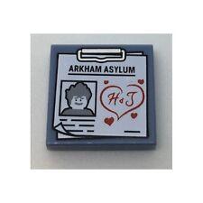 LEGO - Tile 2 x 2 Clipboard w/ ARKHAM ASYLUM, Joker Image - Red H & J in Heart