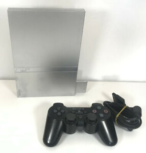 Sony Playstation 2 PS2 Silver Slim Console SCPH-75003 & Memory Card - Working