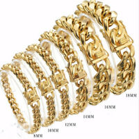 8-18MM Mens Miami Cuban Chain Gold Plated Stainless Steel Bracelet Bangle 7-11""