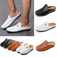 Men's Slip On Hollow Mule Shoes Casual Loafer Driving Moccasins Leather Slippers