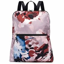Tumi NWT Just In Case Packable Abstract Floral Print Nylon Backpack and Pouch