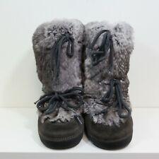 KIDS UNISEX  FENDI BROWN suede rabbit fur snow boots