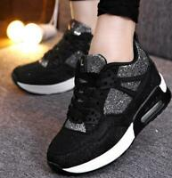 Womens Athletic Lace Up Wedge Hidden High Heel Chic Sneakers Shoe Athletic Pump