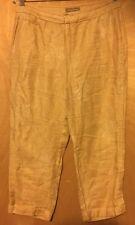 TOMMY BAHAMA Womens Tan Paisley 100% Linen Crop Pants Size 4