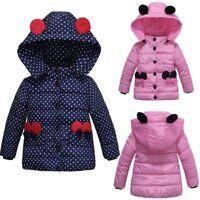 Kids Coat Baby Girl Jacket Thick Warm Coat Padded Dot Bow Winter Jacket Clothes