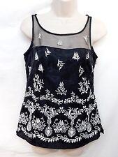 Tank Cami Size 0 Top Black White Embroidered Blouse White House Black Market