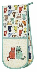 Ulster Weavers Catwalk Cat Double Oven Gloves Mitts Pot Holders 100% Cotton Gift