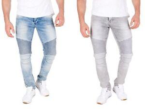Herren Biker Jeans Used Skinny Denim Hose destroyed Naht stretch gerippt slim fi