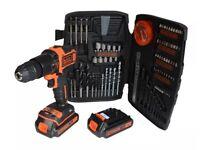 Black & Decker 18V Combi Drill With 2 x 1.5Ah Li-Ion Batteries & Accessory Kit