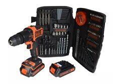 Taladro Decker 18V Estate Black & con 2 X 1.5Ah Li-Ion baterías y Kit de Accesorios