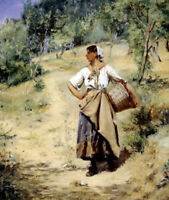 """perfect 20x24 oil painting handpainted on canvas""""a washerwoman""""@7185"""