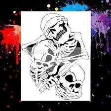 3 Evil Rules Skulls Airbrush Stencil,Template