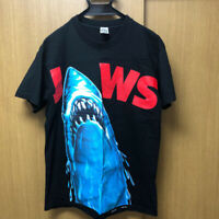 Jaws Shark Attacking Summer Print T-Shirt Deadstock Vintage Size L from Japan
