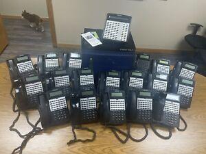 Iwatsu IX-12KTD-3 ADIX Omega Phone System W/ 17 Phones, Expansion Cabinet, &More