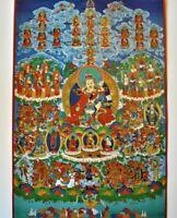 Buddhist Thangka Buddha Padmasambhav Nyingma Refuge Tree Guru Rimpoche Vajrayana