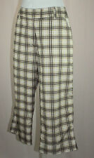 Daily Sports Women's SZ 8 Brown White Plaid Stretch Capri Crop Golf Pants