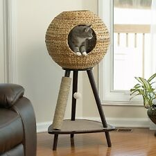 Cat Tree House Tower Scratch Post Pet Condo Round Sphere Wicker Basket House