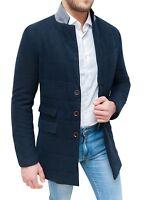 Cappotto uomo Diamond invernale blu scuro elegante slim fit aderente da S a XXL