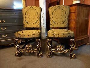 Pair of Italian 19th Century carved Walnut Renaissance style side chairs