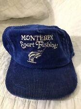 Vintage Trucker Hat Blue Corduroy Monterey Sport Fishing SnapBack Baseball Cap