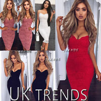 UK Womens Bodycon Plunge Lace Strappy Ladies Party Evening Midi Dress Size 6-14