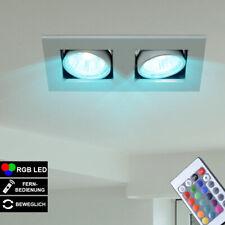 RGB LED Decken Einbau Lampe Fernbedienung Spots beweglich ALU Strahler dimmbar