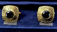 CUFF LINKS MEN'S Black Spinel 8MM Round Genuine! Antique Style FINE Brass SET*