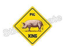 "*Aluminum* Pig Crossing Funny Metal Novelty Sign 12""x12"""