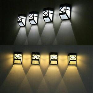 4 x LED Outdoor Solar Powerful Light Wall Mount Garden Path Fence Courtyard Lamp