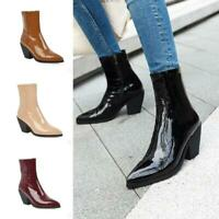 New Women Chunky Heel Chelsea Ankle Boots Punk Outdoor Pointy Toe Patent Leather