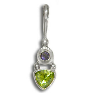 Offerings Sajen 925 Sterling Silver Hand Crafted Peridot and Iolite Pendant
