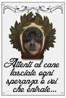 PINSCHER DANTE ALIGHIERI TARGA METALLO CARTELLO IDEA REGALO CANE
