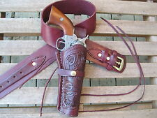 "Gun Belt Combo - 6""  Tooled Holster - Wine - Leather - Sizes 34"" to 48"""