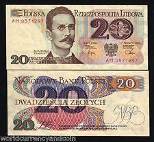 POLAND 20 ZLOTYCH P149 1982 TRAUGUTT UNC ORIGINAL BUNDLE PACK 100 BILL BANK NOTE