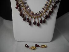 Avon Gold-tone Collar Necklace w/ Pearls & Crystal Beads & Earring Set NWOT