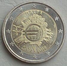 2 euro Malta 2012 10 años euro unz