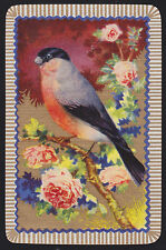 1 Single VINTAGE Swap/Playing Card BIRD BULL FINCH on BRANCH FLOWERS Gold Detail