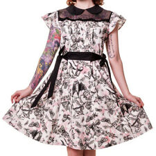 Banned Apparel Bats & Butterflies White Pink & Black Ruffle & Mesh Style Dress